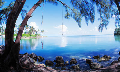 Water Play Photograph - Rope Swing Over Water Florida Keys by Panoramic Images