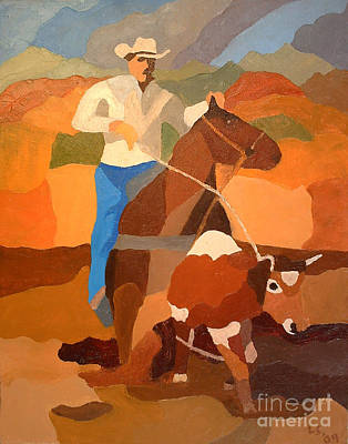 Steer Painting - Roper by Lowell Smith