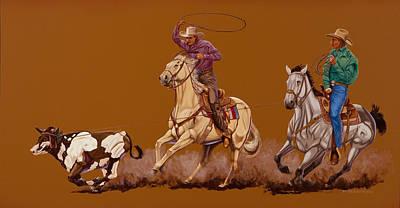 Ropin Pardners Print by Hugh Blanding