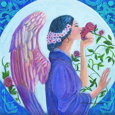 Rose Angel II Homage To Mary Noble Original by Priscilla Greenbaum