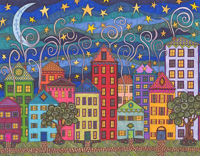 Moonlit Night Drawing - Rose Avenue by Pamela Schiermeyer