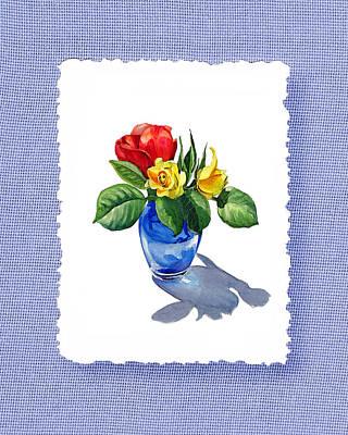 Red Painting - Rose Bouquet On Baby Blue by Irina Sztukowski