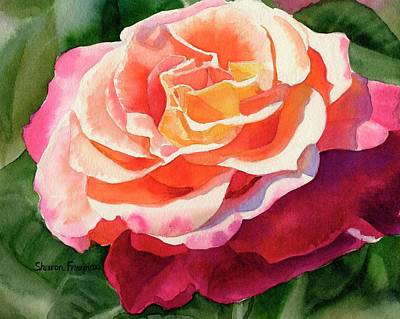 Rose Gold Painting - Rose Fringed With Red Petals by Sharon Freeman