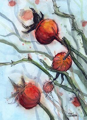 Rose Hips Abstract  Print by Olga Shvartsur