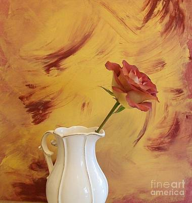 With Red Photograph - Rose In A Pitcher by Marsha Heiken
