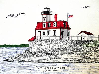Rose Island Lighthouse Print by Frederic Kohli