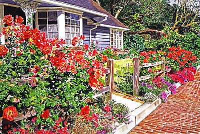 Rose Ranch House - Bel-air Print by David Lloyd Glover