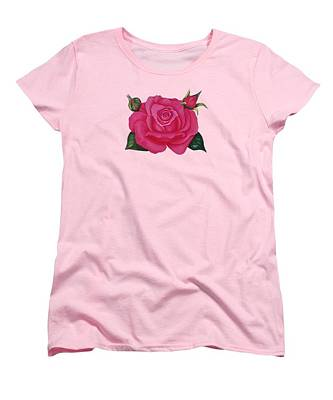 Woman Painting - Rose T-shirts by Zina Stromberg