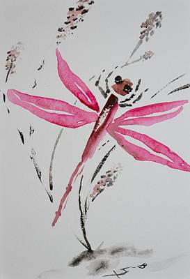 Subconscious Painting - Rose Toned Dragonfly by Beverley Harper Tinsley