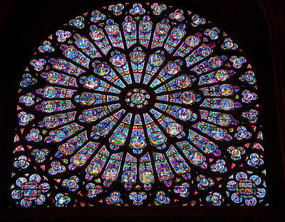 Rose Window At Notre Dame Cathedral Paris Print by Jon Berghoff