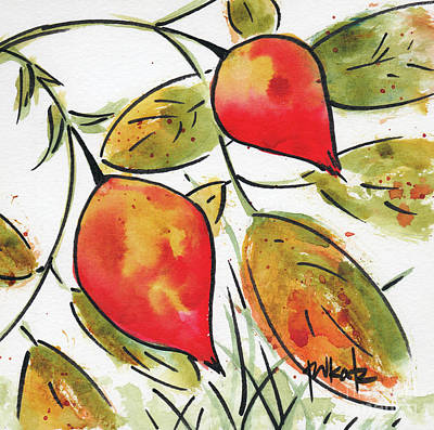 Rosehips In Autumn Print by Pat Katz