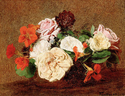 Henri Fantin-latour Painting - Roses And Nasturtiums In A Vase by Henri Fantin-Latour