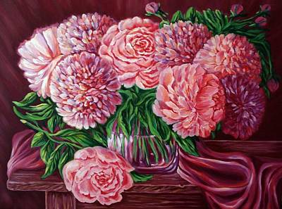 Spirit Catcher Painting - Roses And Peony by Katreen Queen