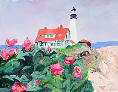 Painting - Roses At Portland Headlight by Stella Sherman