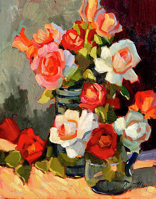 Pitcher Painting - Roses From My Garden by Diane McClary
