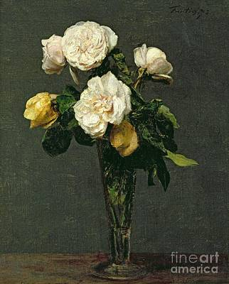 Decorative Painting - Roses In A Champagne Flute by Ignace Henri Jean Fantin-Latour