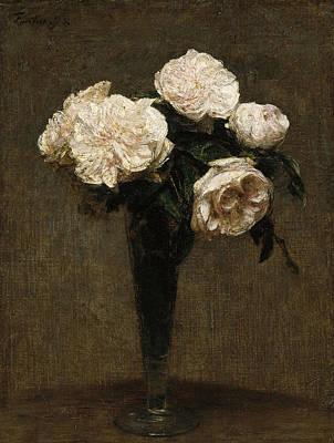 Henri Fantin-latour Painting - Roses In A Vase by Henri Fantin-Latour