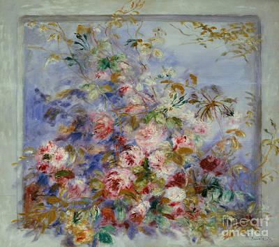 Roses In A Window Print by Pierre Auguste Renoir