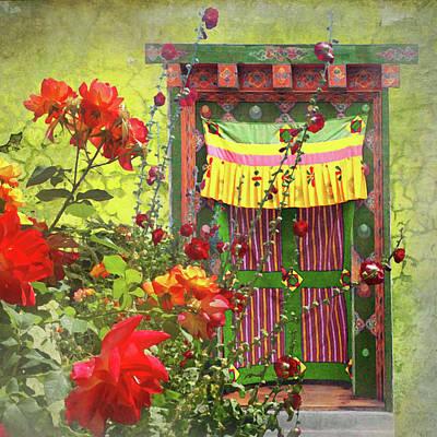 Hollyhock Digital Art - Roses In Bhutan by Jeff Burgess