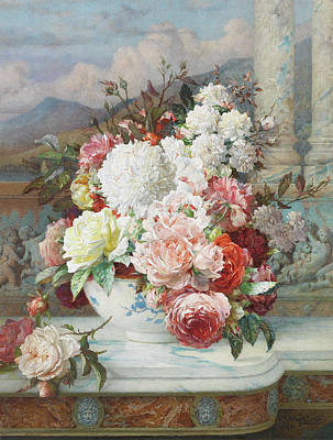 Marble Flower Vases Painting - Roses On A Marble Ledge by William Jabez Muckley
