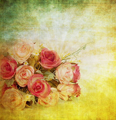 Colored Background Painting - Roses Pattern Retro Design by Setsiri Silapasuwanchai