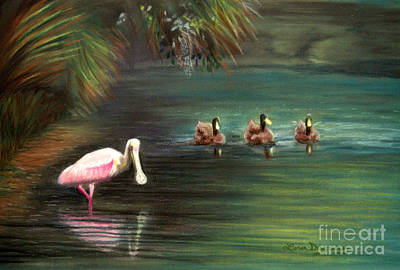 Spoonbill Mixed Media - Rosey And Friends by Lora Duguay