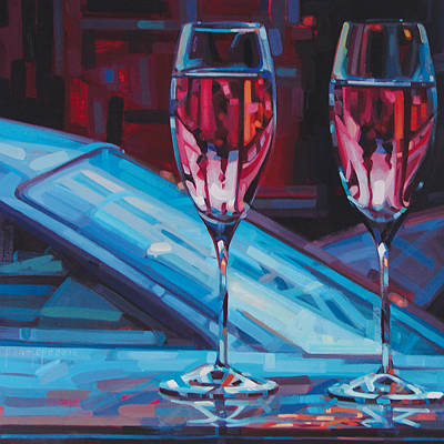 Wine Glasses Painting - Rosey Twins by Penelope Moore