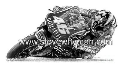 Valentino Rossi Art Drawing - Valentino Rossi 04 Gogo by Steven Whyman