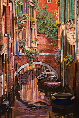 Canal Painting - Rosso Veneziano by Guido Borelli
