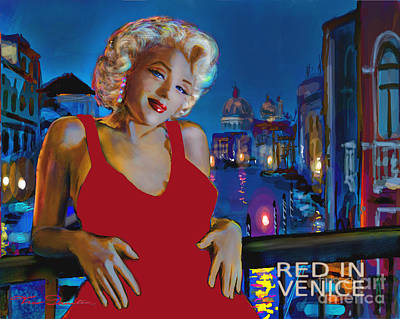 Rot In Venedig / Red In Venice Print by Theo Danella
