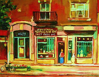 Montreal Winter Scenes Painting - Rothchilds Jewellers On Park Avenue by Carole Spandau