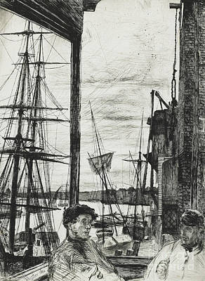 Port Drawing - Rotherhithe by James Abbott McNeill Whistler