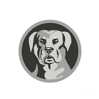 Rottweiler Guard Dog Head Circle Black And White Print by Aloysius Patrimonio