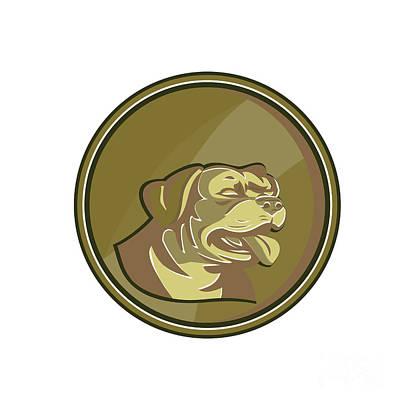 Rottweiler Guard Dog Head Gold Medallion Retro Print by Aloysius Patrimonio