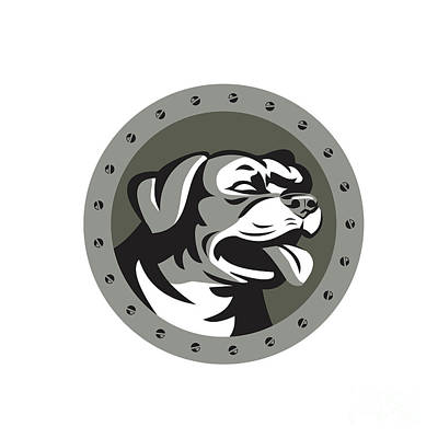 Rottweiler Guard Dog Head Metallic Circle Retro Print by Aloysius Patrimonio