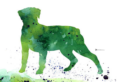 Rottweiler Silhouette Abstract Poster Print by Joanna SzmerdtRottweiler silhouette abstract poster