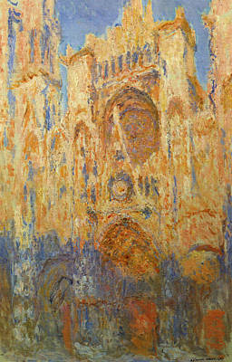 Church Painting - Rouen Cathedral, Facade, Sunset by Claude Monet