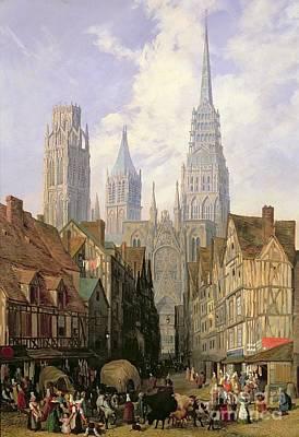 Rouen Cathedral Print by Lewis John Wood