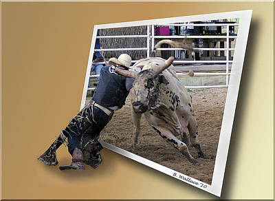 Of Rodeo Bucking Bulls Photograph - Rough Ride by Brian Wallace