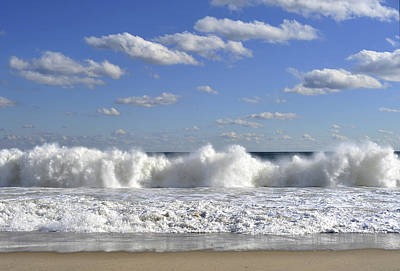 Rough Surf Jersey Shore  Print by Terry DeLuco