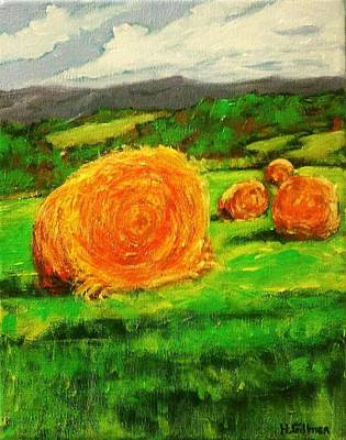 Bales Painting - Round Bales On The Hillside by Heather  Gillmer
