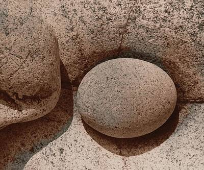 Round Stone On Rock Print by Elspeth Ross