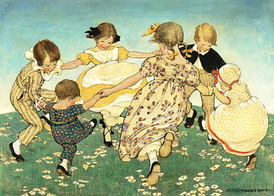 Jessie Willcox Smith Drawing - Round The Ring Of Roses by Jessie Willcox Smith