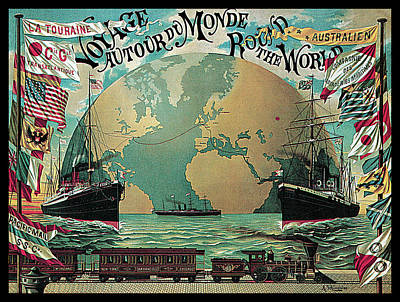 World Map Poster Photograph - Round The World Voyage by A Schindeler