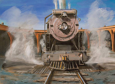 Steam Locomotive Painting - Roundhouse Steam by Christopher Jenkins