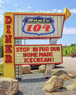 Beach Photograph - Route 104 Diner Sign by Edward Fielding