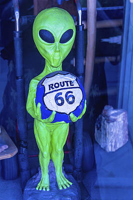 Aliens Photograph - Route 66 Alien by Garry Gay