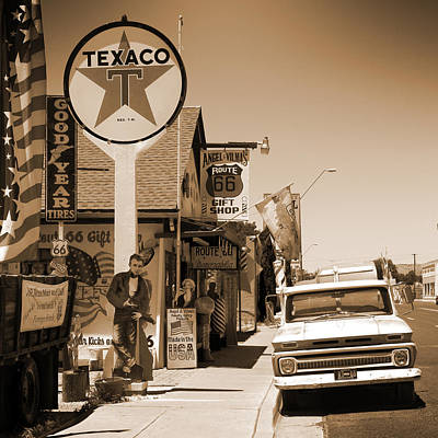 Old Trucks Digital Art - Route 66 - Angel And Vilma's by Mike McGlothlen