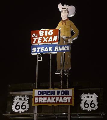 Stop Sign Photograph - Route 66 - Big Texan Steak Ranch - Amarillo, Texas by Daniel Hagerman
