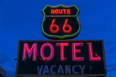 Route 66 Motel Neon Print by Garry Gay